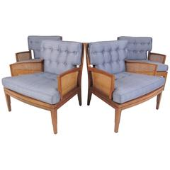 Set of Four Walnut and Cane Lounge Chairs
