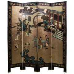 Mid-Century Chinese Coromandel Lacquer Folding Screen
