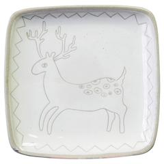 """Reindeer,"" Very Rare Sgraffito Dish by Glidden Parker, Late 1940s"