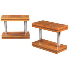 Pair of French Vintage Maple Side Tables, 1950s