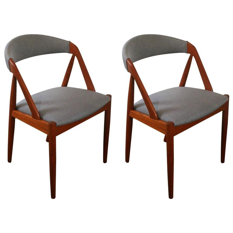 Pair of vintage teak model 31 dining chairs by kai kristiansen at 1stdibs - Kai kristiansen chairs ...