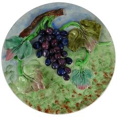19th Majolica Grapes Wall Platter Longchamp
