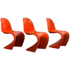 1965, Verner Panton Stacking Chair First Herman Miller Edition, in Orange