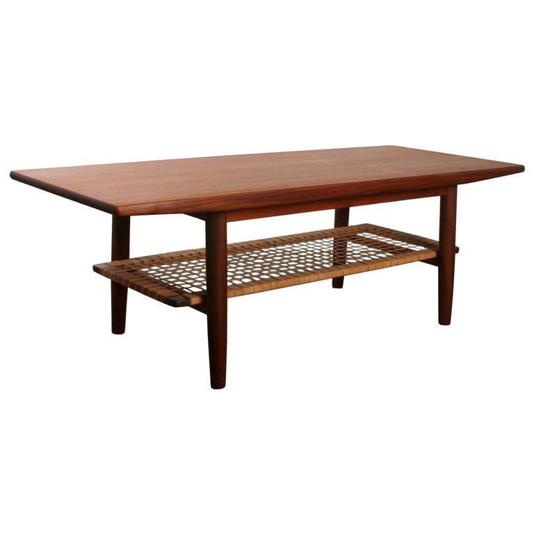 Vintage Danish Teak Coffee Table With Teak Shelf At 1stdibs
