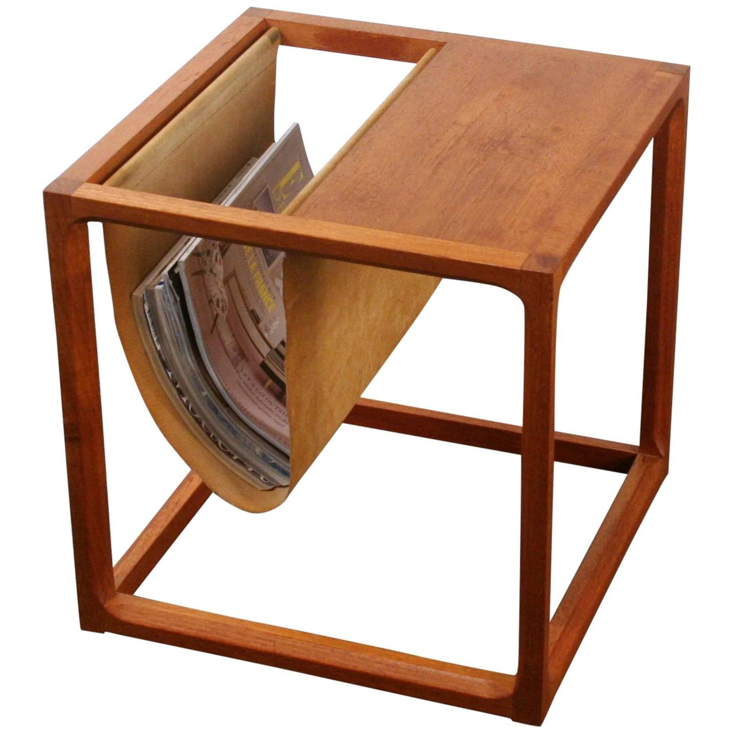 Vintage Danish Teak Side Table With Magazine Rack For Sale