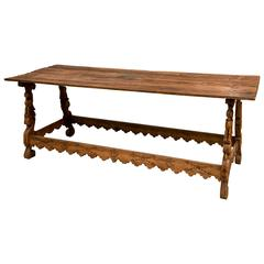 Spanish Colonial Mexican Stretcher Base Table, Early 1700s