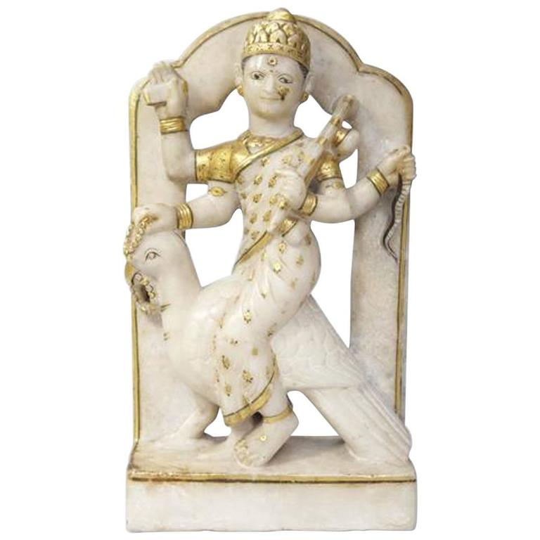 Indian Early Alabaster Sculpture of Indian Deity with Bird For Sale