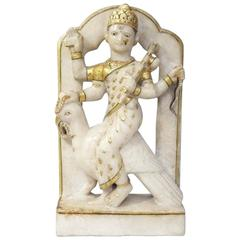 Indian Early Alabaster Sculpture of Indian Deity with Bird