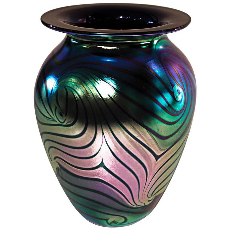 Feather Glass Vase : Eickholt glass pulled feather vase at stdibs
