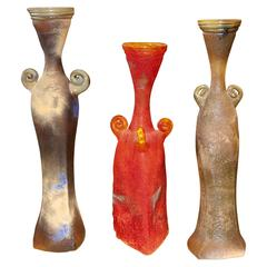 Three Beautiful Art Glass Vases Signed Ignis in the Scavo Style