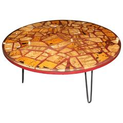Resin Epoxy Table with Pretty Cork Pieces on Hairpin Legs