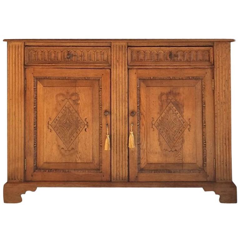 Antique Style Solid Golden Oak Sideboard Credenza Dresser Old Charm 1