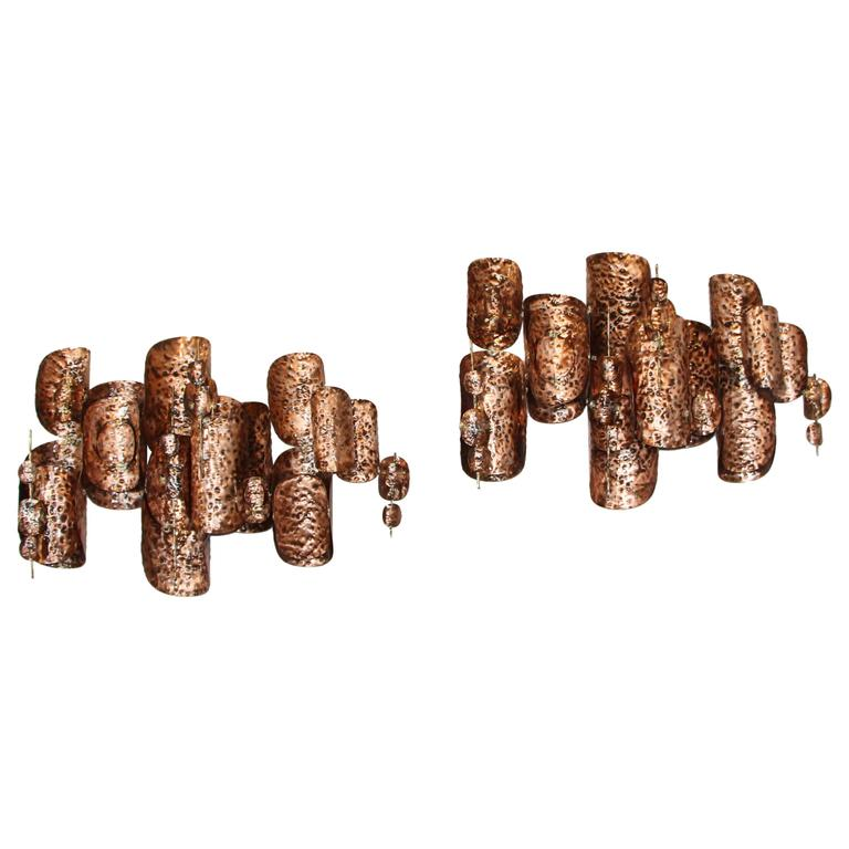 Pair of Copper Patinated Brutalist Metal Wall Sculptures