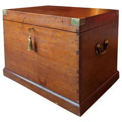 Antique Campaign Chest Trunk Blanket Box Royal Navy C F H Churchill