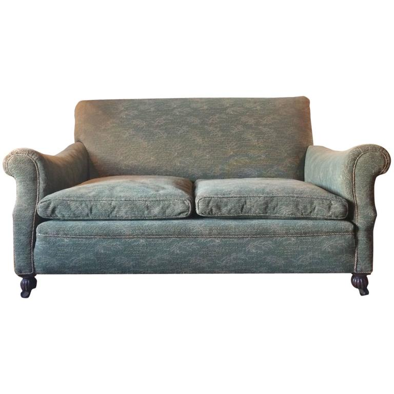 Antique Drop Arm Sofa: Antique Edwardian Drop End Sofa Or Settee With Green