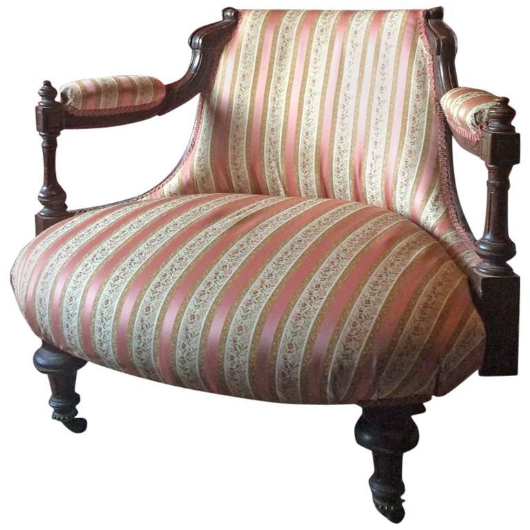 Antique Mahogany Salon Chair or Lounge Chair, Victorian ...