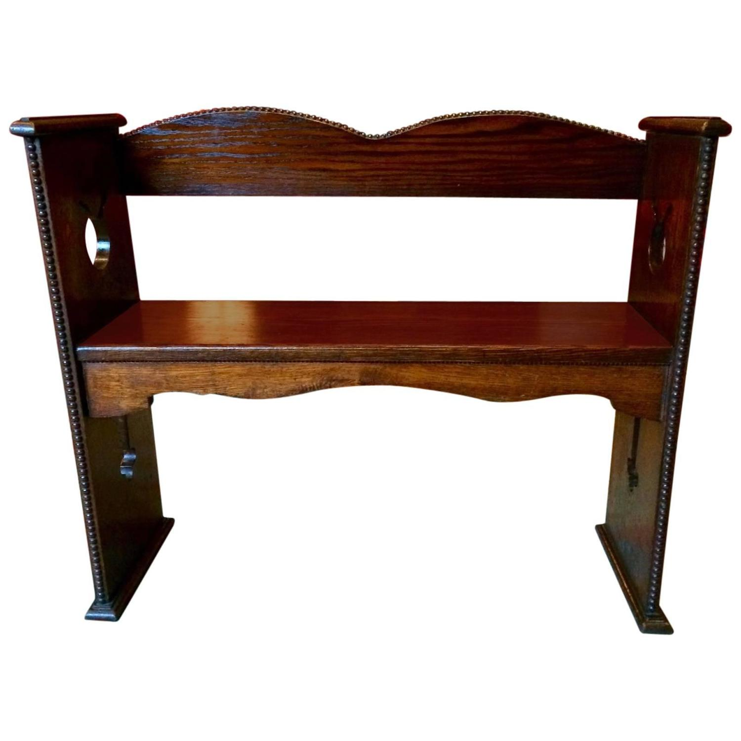 Antique 1940s Oak Hall Settle Bench Pew Arts And Crafts For Sale At 1stdibs