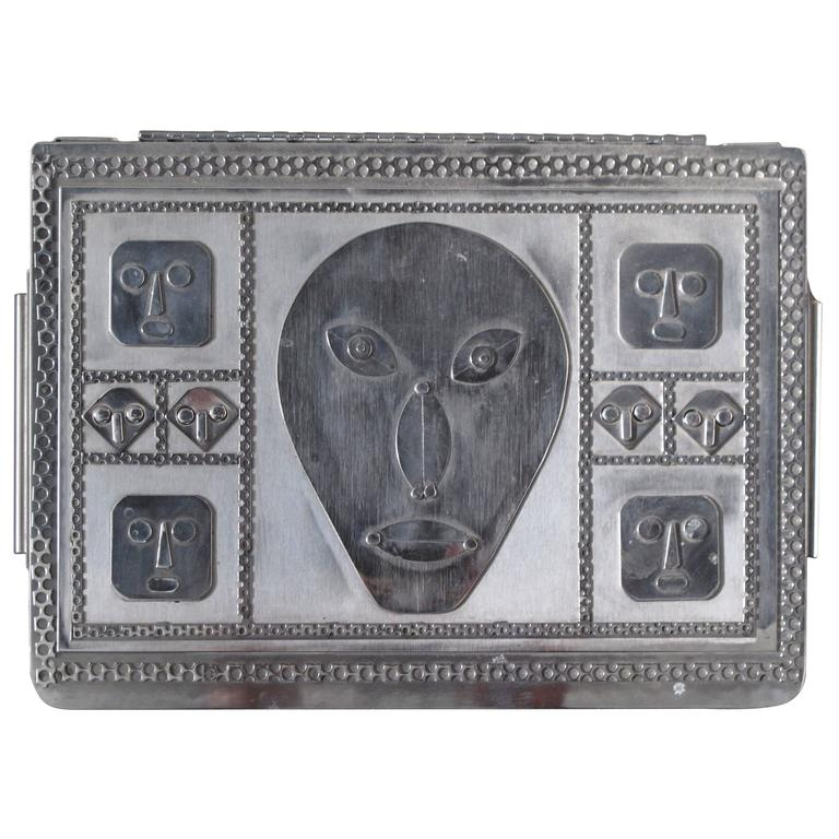 Jewelry Box with Mask Faces of Stainless Steel by Stanley Szwarc For Sale