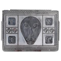 Jewelry Box with Mask Faces of Stainless Steel by Stanley Szwarc
