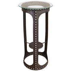 Vintage Industrial Riveted Steel and Glass Side End Table