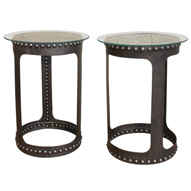 Vintage Glass Side Table ~ Vintage industrial riveted steel metal and glass end or