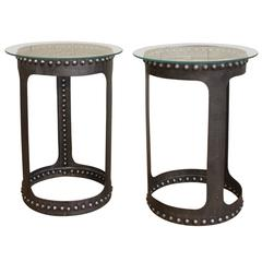 Vintage Industrial Riveted Steel, Metal and Glass End or Side Tables