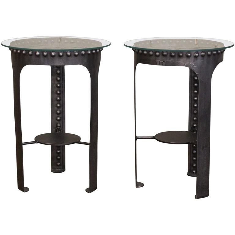 End, Side Tables, Vintage Industrial Brutalist Riveted Steel, Metal and Glass  For Sale