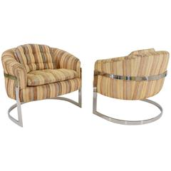 Pair of Milo Baughman Barrel Back Lounge Chairs