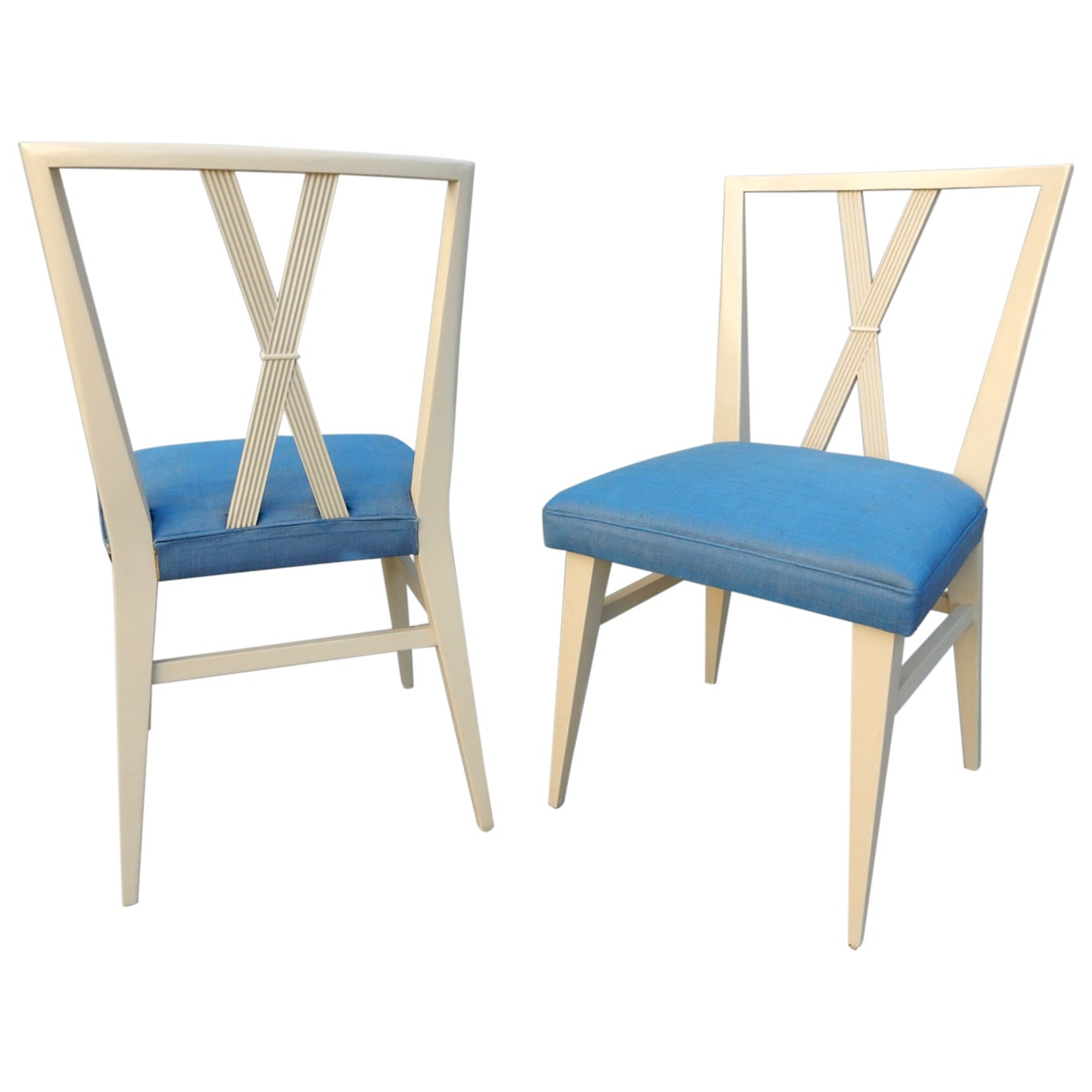 Tommi Parzinger for Charak Modern X-Back Dining Chairs, Pair
