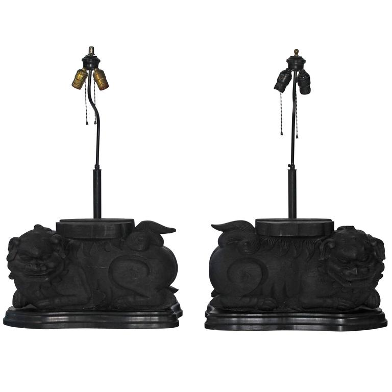 Pair of Foo Dog Lamps