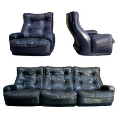 Leather Lounge Set by Airborne International, circa 1970s