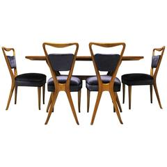 Sculptural Mid-Century Modern X-Back Dining Set, Italy, 1940s