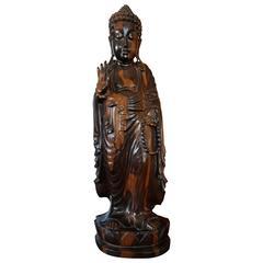 Large and Stunning Carved Coromandel Sculpture of Standing Buddha Amida on Lotus
