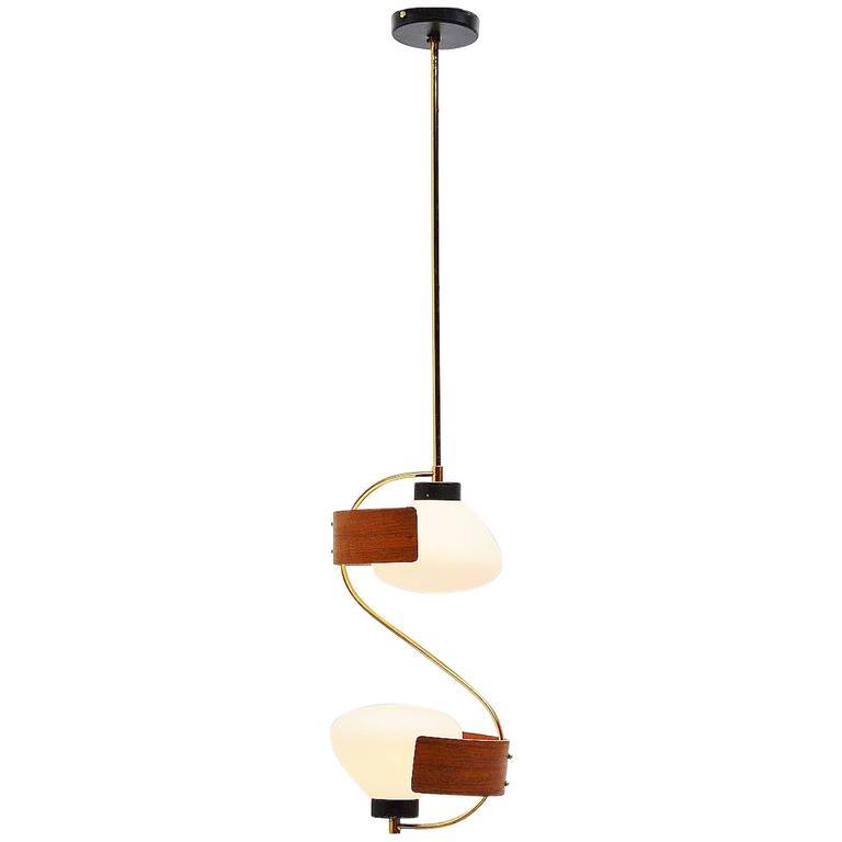 Studio Reggiani Pendant Lamp in Teak and Brass, Italy, 1950