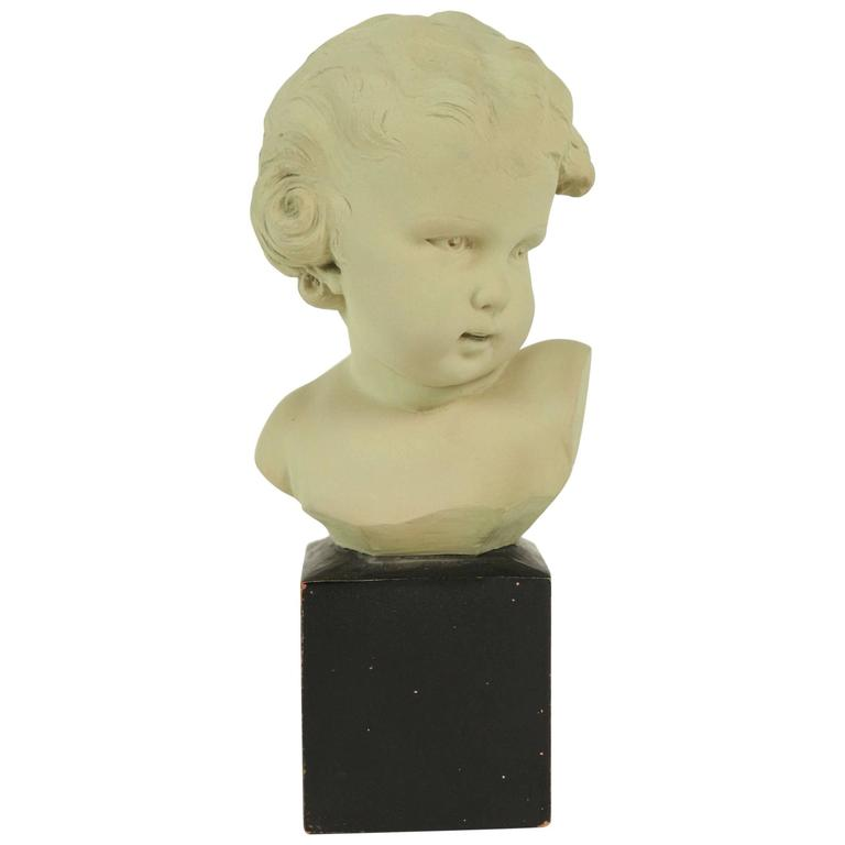 Bust of a Child in Terra Cotta from the 20th Century, Signed Gobet