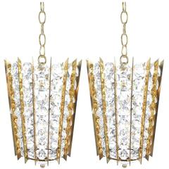 Pair of Bakalowits & Sohne Crystal Glass and Brass Pendant Lights