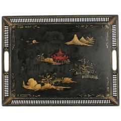 Beautiful Chinoiserie Lacquered Tray from the 19th Century