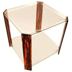 Faux Tortoise Shell, Lucite and Glass Table
