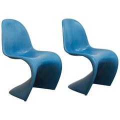 1965, Verner Panton, Two Stacking Chair 1st Herman Miller Edition, in Blue