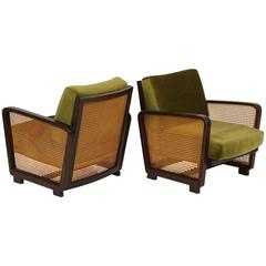 Green Velvet Woven Wicker Rattan Chairs Deco Modernist, Mid Century, France  At 1stdibs