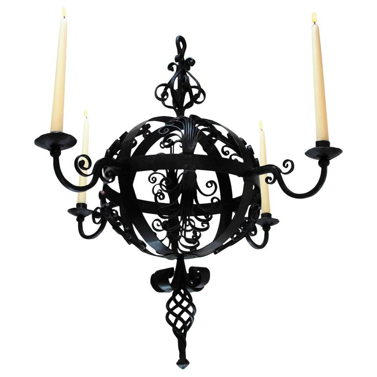 19th century spanish wrought iron chandelier for sale at 1stdibs early 19th century spanish wrought iron chandelier aloadofball Image collections