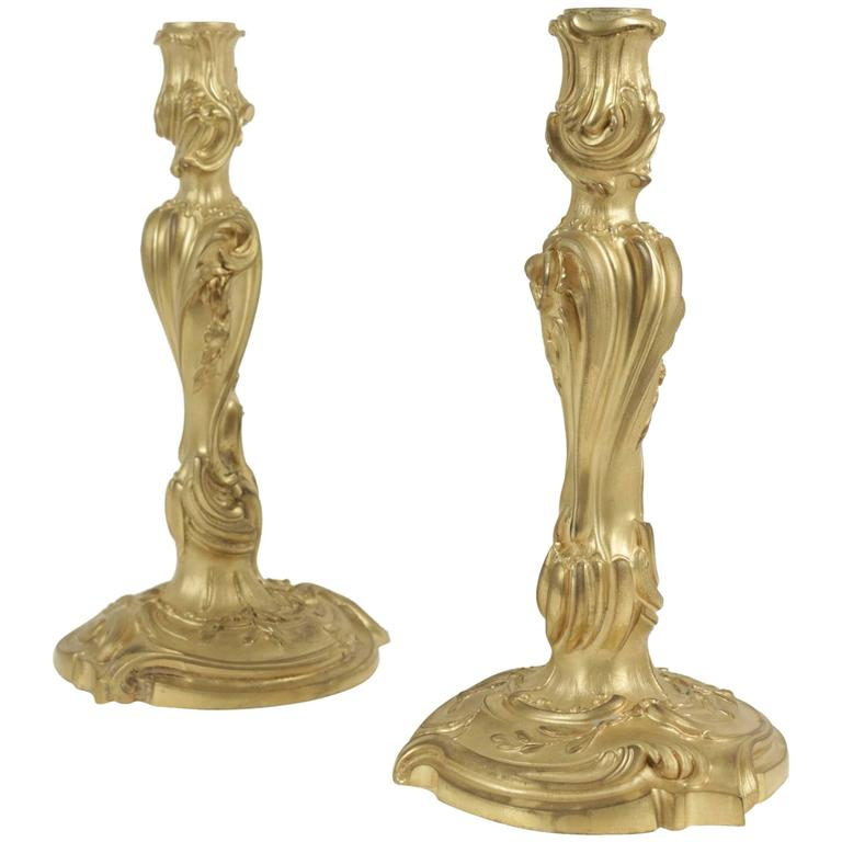 Pair of Candlesticks in Bronze from the 19th Century in the Louis XV Style