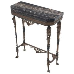 Antique Italian Black Marble Console Table with Lion Figures on Metal Base
