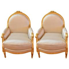 Pair of Louis XVI Style Gilded Frame Bergere Chairs
