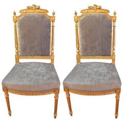 Pair of Louis XVI Style Gilded Side Chairs