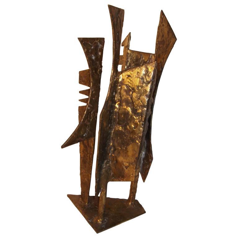 """Sculpture 95"" Abstract Modern Art Bronzed Welded Iron by J. McVicker"