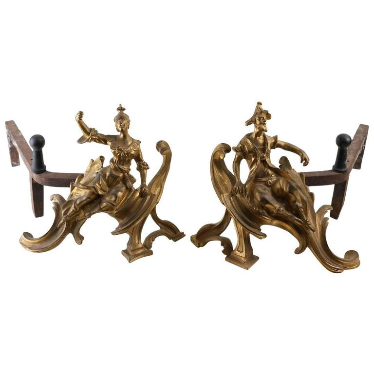 Charming Male, Female Pair of Louis XV Style Gilt Bronze Chenets, Andirons