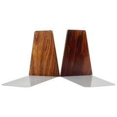 Pair of Danish Modern Rosewood and Metal Book Ends, Denmark, 1960s