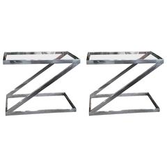 Pair of Milo Baughman Style Chrome and Glass Z Shaped End Tables, 1970s