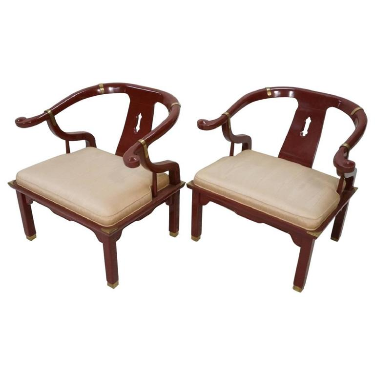 Pair of Red Horseshoe Back Lounge Chairs, Century Chair Comp in James Mont Style